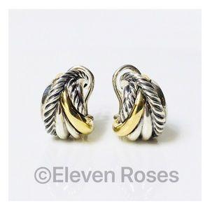 David Yurman Sterling 18k Crossover Wrap Earrings